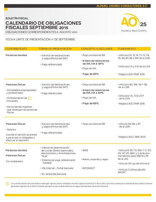 ALFARO, OSORIO CONSULTORES, S.C. BOLETÍN FISCAL OBLIGACIONES CORRESPONDIENTES A AGOSTO 2015 FECHA LÍMITE DE PRESENTACIÓN 1...
