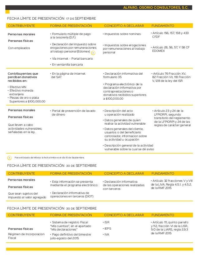 Calendario de obligaciones fiscales septiembre 2015 Slide 2