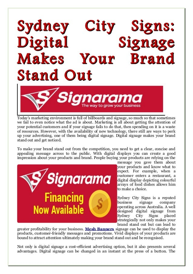 Sydney City Signs:Sydney City Signs: Digital SignageDigital Signage Makes Your BrandMakes Your Brand Stand OutStand Out To...