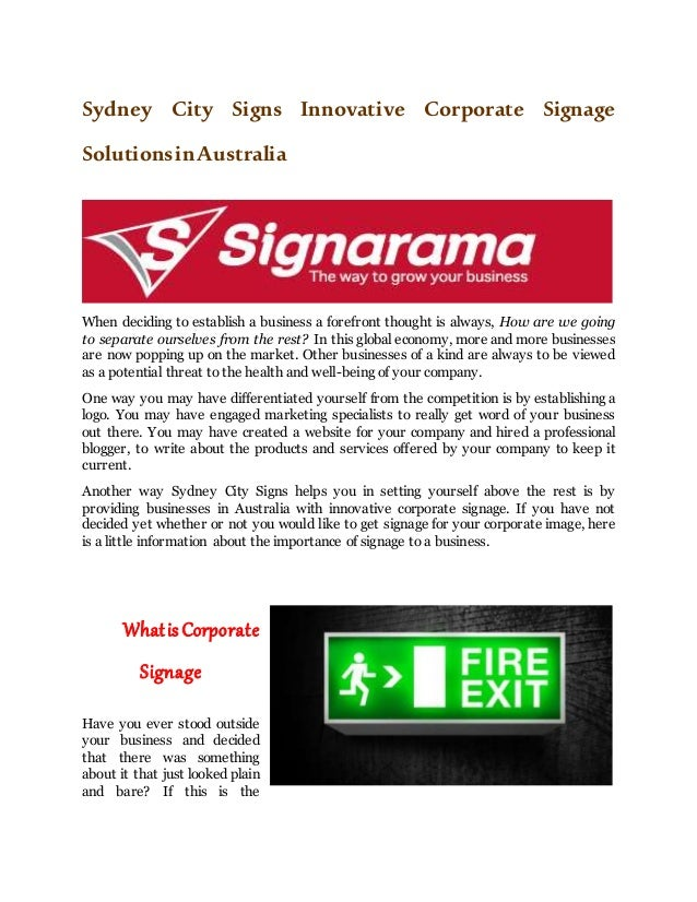 Sydney City Signs Innovative Corporate Signage SolutionsinAustralia When deciding to establish a business a forefront thou...