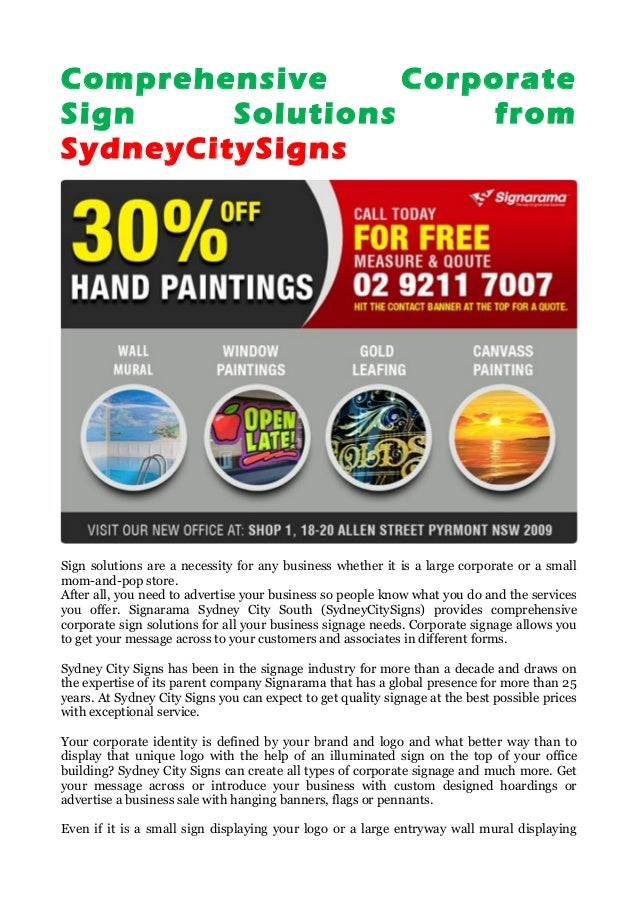 Comprehensive Corporate Sign Solutions from SydneyCitySigns Sign solutions are a necessity for any business whether it is ...