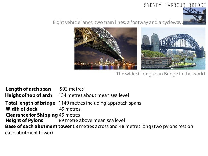 SYDNEY HARBOUR BRIDGE                     Eight vehicle lanes, two train lines, a footway and a cycleway.                 ...