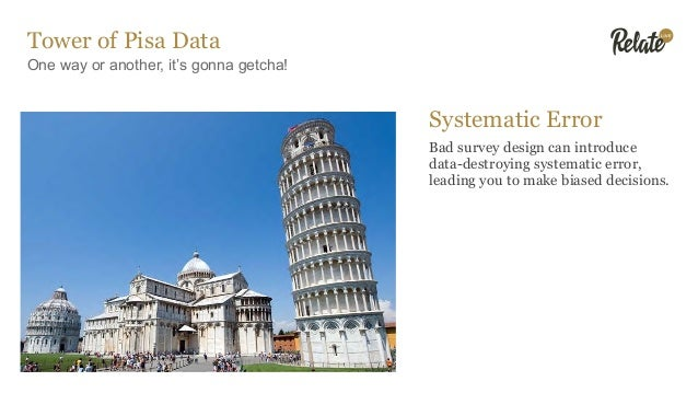 Tower of Pisa Data One way or another, it's gonna getcha! Systematic Error Bad survey design can introduce data-destroying...