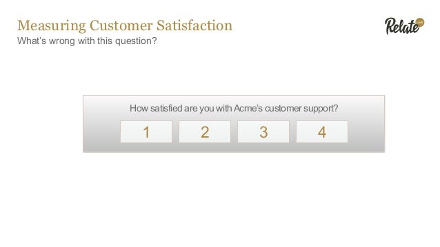 How satisfied are you withAcme's customer support? 1 3 42 What's wrong with this question? Measuring Customer Satisfaction