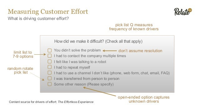 Measuring Customer Effort What is driving customer effort? Content source for drivers of effort: The Effortless Experience...