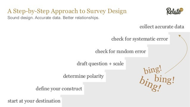 Sound design. Accurate data. Better relationships. A Step-by-Step Approach to Survey Design start at your destination defi...