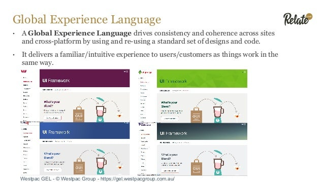 Global Experience Language • A Global Experience Language drives consistency and coherence across sites and cross-platform...