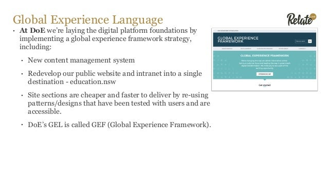 Global Experience Language • At DoE we're laying the digital platform foundations by implementing a global experience fram...