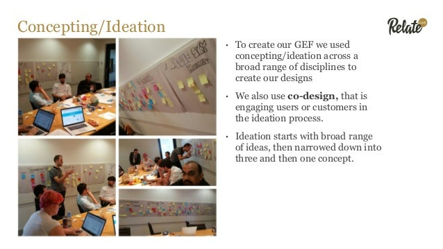 Concepting/Ideation • To create our GEF we used concepting/ideation across a broad range of disciplines to create our desi...