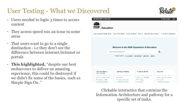 User Testing - What we Discovered • Users needed to login 3 times to access content • They access speed was an issue in so...