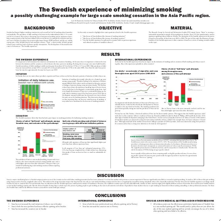 The Swedish experience of minimizing smoking      a possibly challenging example for large scale smoking cessation in the ...