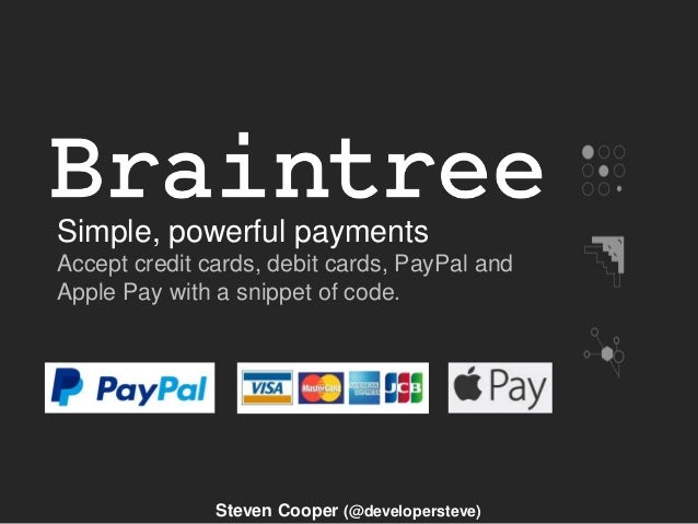 Simple, powerful payments Accept credit cards, debit cards, PayPal and Apple Pay with a snippet of code. Steven Cooper (@d...
