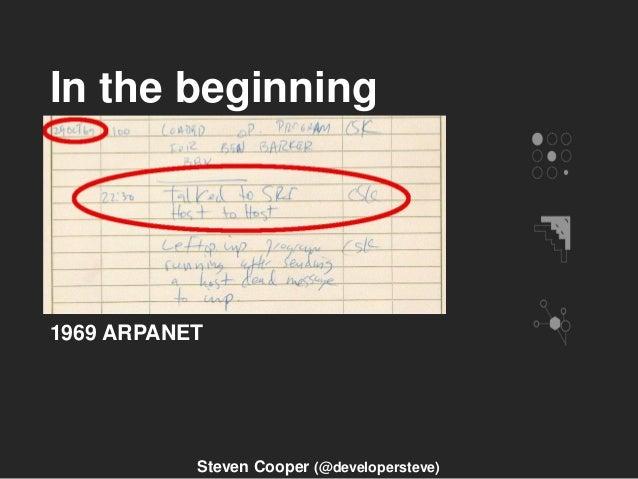 In the beginning 1969 ARPANET Steven Cooper (@developersteve)