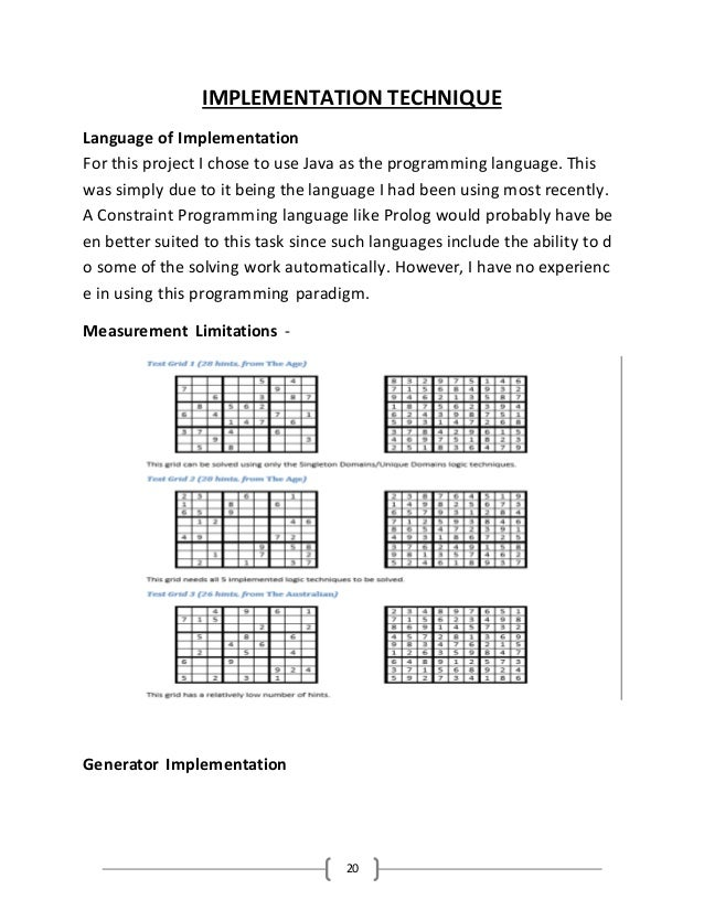 Project Report on Sudoku