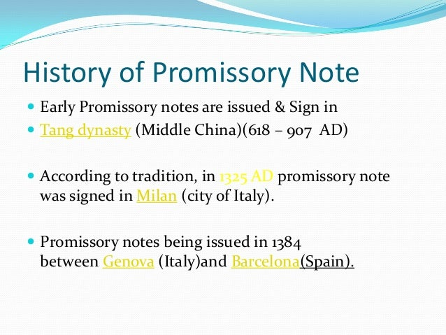 Promissory Note  Bill Of Exchange