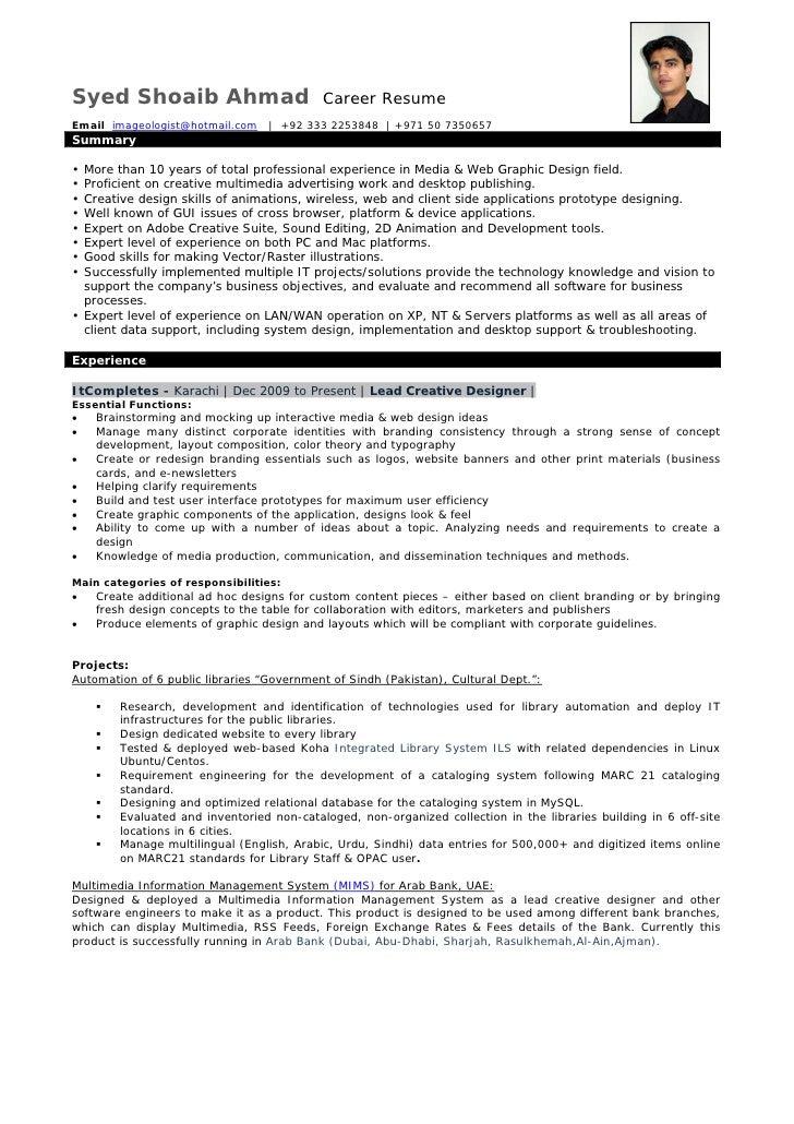 Syed Shoaib Ahmad                          Career ResumeEmail imageologist@hotmail.com      +92 333 2253848   +971 50 7350...