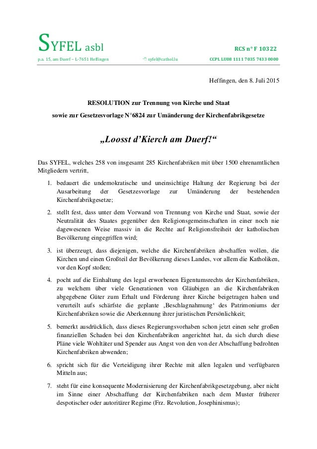 SYFEL asbl RCS n° F 10322 p.a. 15, am Duerf – L-7651 Heffingen  syfel@cathol.lu CCPL LU08 1111 7035 7433 0000 Heffingen, ...