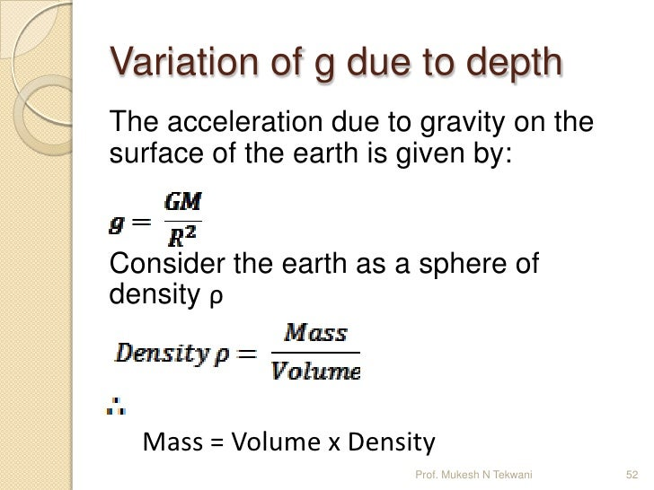 Variation of acceleration due to gravity