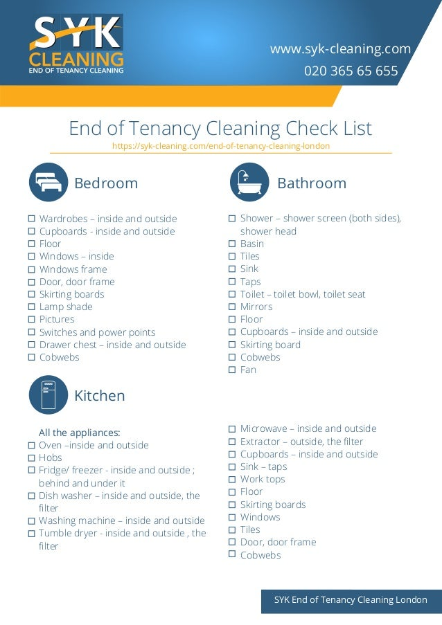 www.syk-cleaning.com SYK End of Tenancy Cleaning London End of Tenancy Cleaning Check List 020 365 65 655 Bedroom Kitchen ...