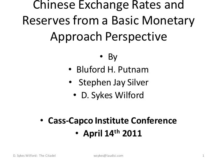 Chinese Exchange Rates and      Reserves from a Basic Monetary           Approach Perspective                             ...