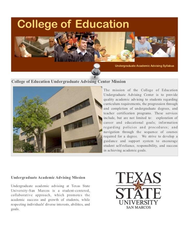 College of Education                                                                   Undergraduate Academic Advising Syl...