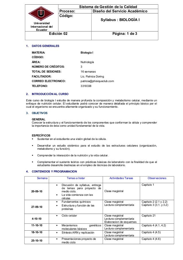 Universidad Internacional del Ecuador Sistema de Gestión de la Calidad Proceso: Diseño del Servicio Académico Código: Syll...