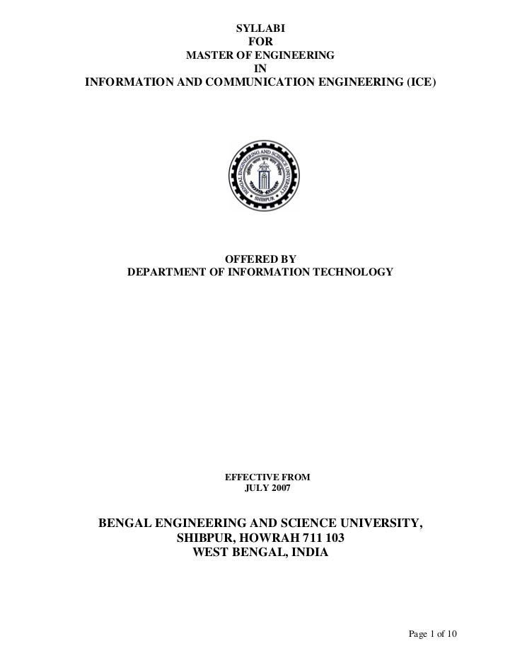 SYLLABI                     FOR             MASTER OF ENGINEERING                       ININFORMATION AND COMMUNICATION EN...
