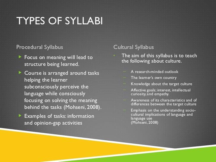 TYPES OF SYLLABI <ul><li>Procedural Syllabus </li></ul><ul><li>Cultural Syllabus </li></ul><ul><li>Focus on meaning will l...