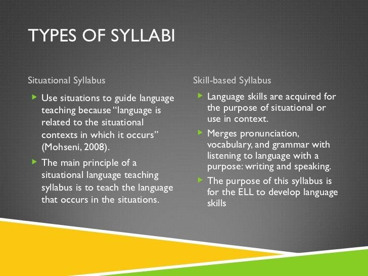 TYPES OF SYLLABI <ul><li>Situational Syllabus </li></ul><ul><li>Skill-based Syllabus </li></ul><ul><li>Use situations to g...