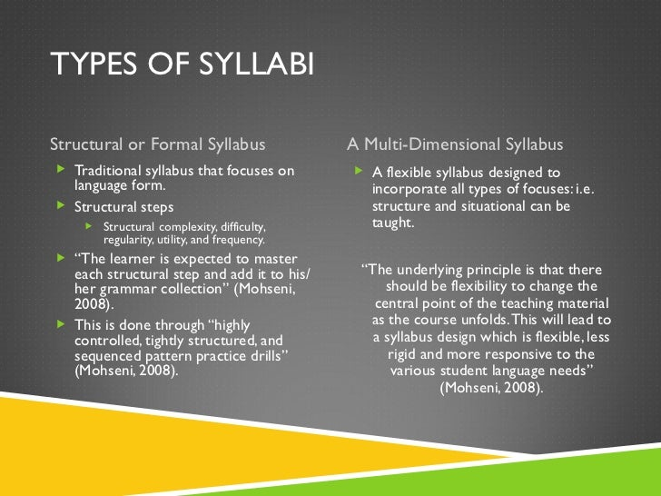 TYPES OF SYLLABI <ul><li>Structural or Formal Syllabus </li></ul><ul><li>A Multi-Dimensional Syllabus </li></ul><ul><li>Tr...