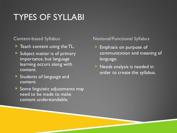 TYPES OF SYLLABI <ul><li>Content-based Syllabus </li></ul><ul><li>Notional/Functional Syllabus </li></ul><ul><li>Teach con...
