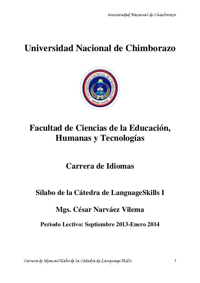 Universidad Nacional de Chimborazo Carrera de IdiomasSílabo de la Cátedra de LanguageSkills 1 Universidad Nacional de Chim...