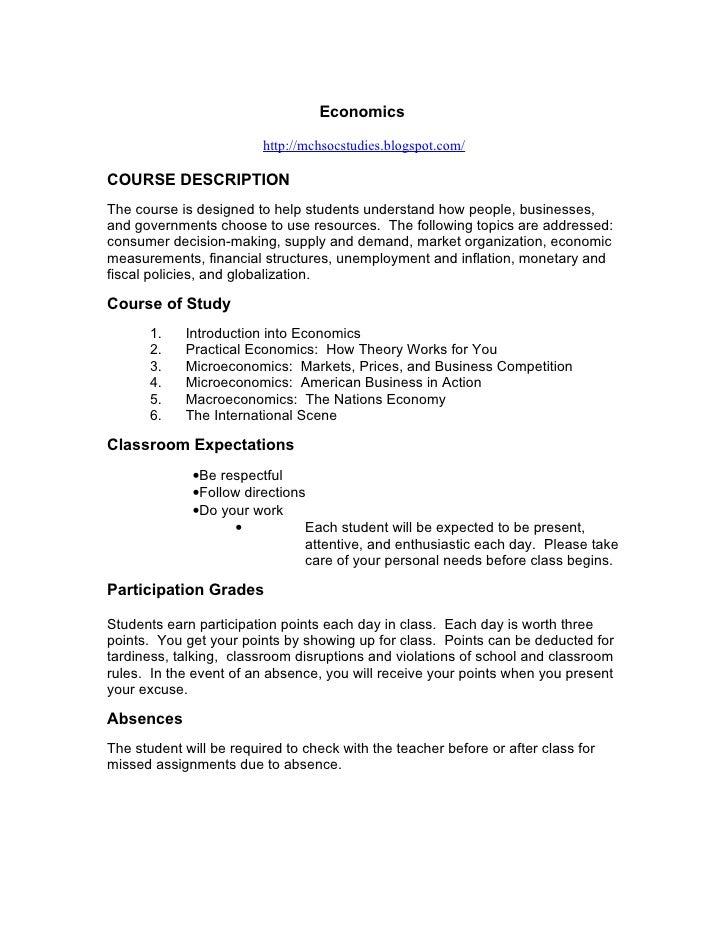 Economics                           http://mchsocstudies.blogspot.com/  COURSE DESCRIPTION The course is designed to help ...