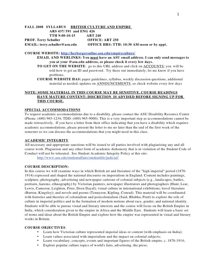 1   FALL 2008 SYLLABUS BRITISH CULTURE AND EMPIRE               ARS 437/ 591 and ENG 426               TTH 9:00-10:15     ...