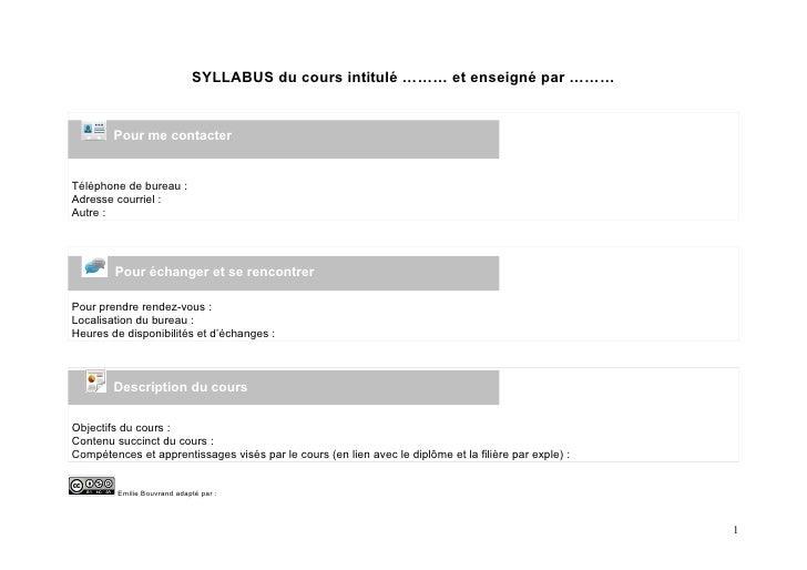 SYLLABUS du cours intitulé ……… et enseigné par ………           Pour me contacter   Téléphone de bureau : Adresse courriel : ...