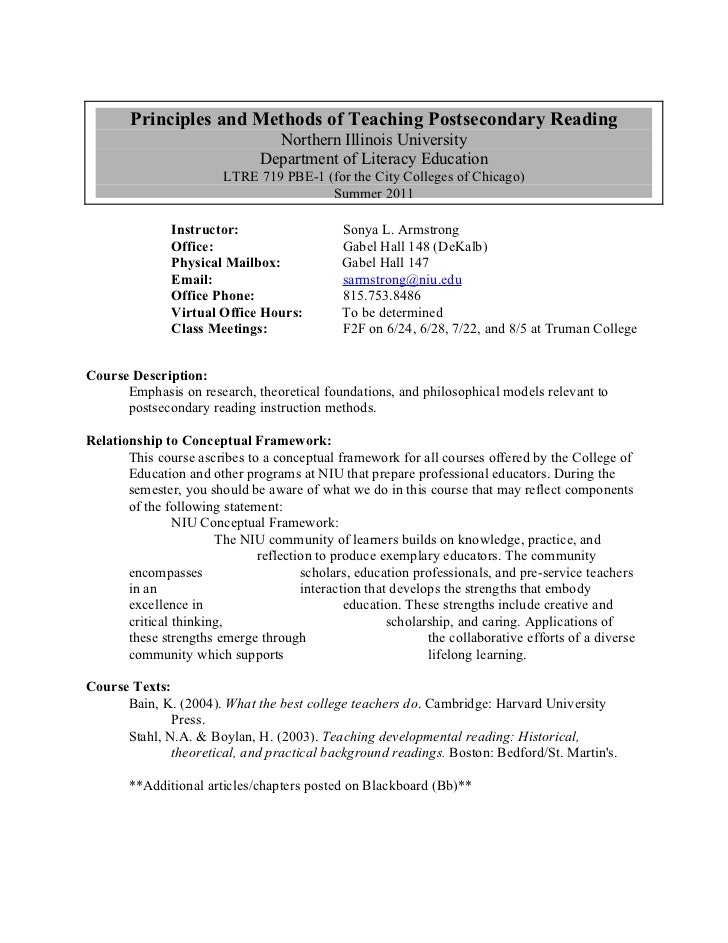 Principles and Methods of Teaching Postsecondary Reading                                 Northern Illinois University     ...