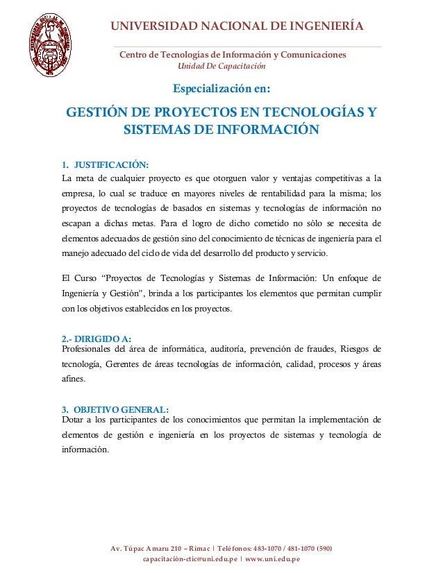 UNIVERSIDAD NACIONAL DE INGENIERÍACentro de Tecnologías de Información y ComunicacionesUnidad De CapacitaciónAv. Túpac Ama...