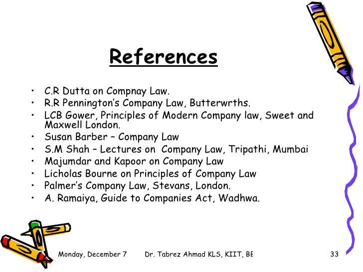Syllabus Company Law KLS Lecture 1