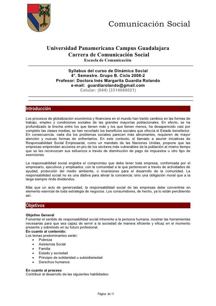 Comunicación Social               Universidad Panamericana Campus Guadalajara                      Carrera de Comunicación...