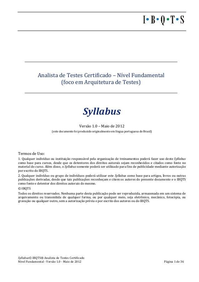 Syllabus©  IBQTS®  Analista  de  Testes  Certificado            ...
