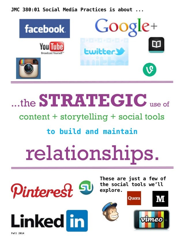 JMC 380:01 Social Media Practices is about ...  ...the STRATEGIC use of  content + storytelling + social tools  to build a...