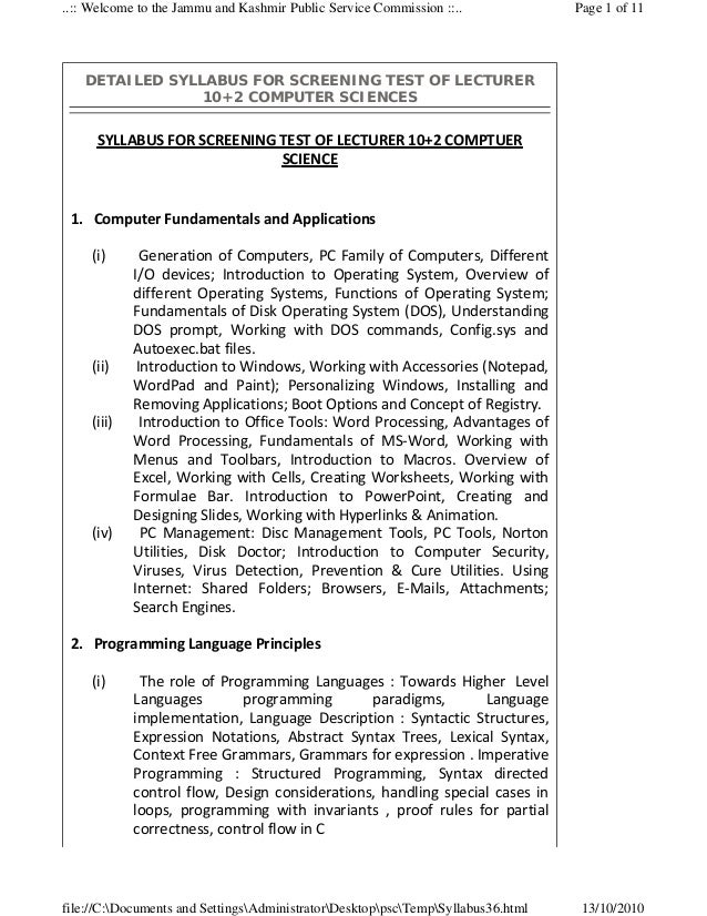 ..:: Welcome to the Jammu and Kashmir Public Service Commission ::..                   Page 1 of 11      DETAILED SYLLABUS...