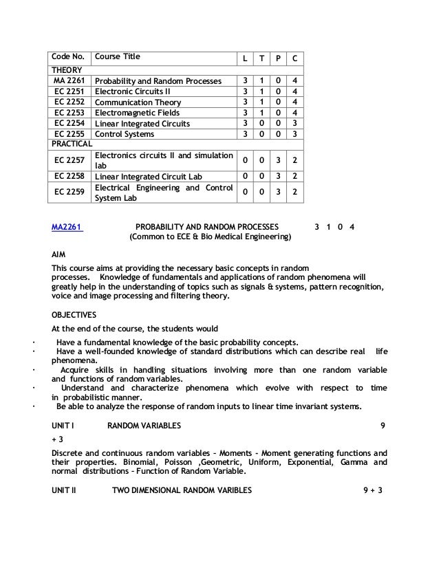 Code No.    Course Title                             L   T   P   C    THEORY    MA 2261     Probability and Random Process...