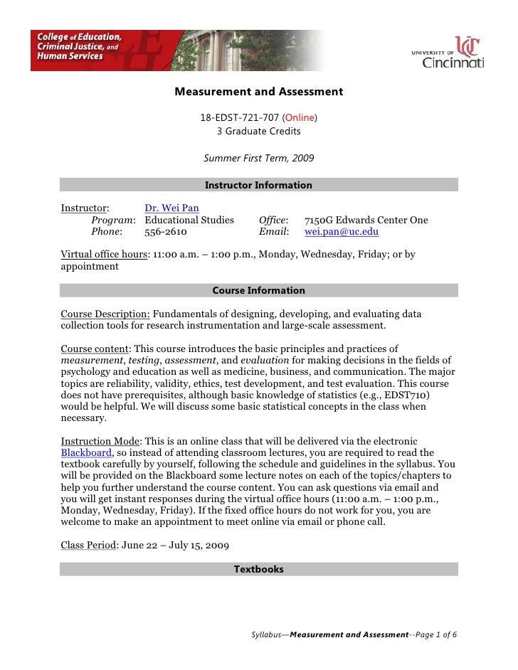 Measurement and Assessment<br />18-EDST-721-707 (Online)<br />3 Graduate Credits<br />Summer First Term, 2009<br />Instruc...