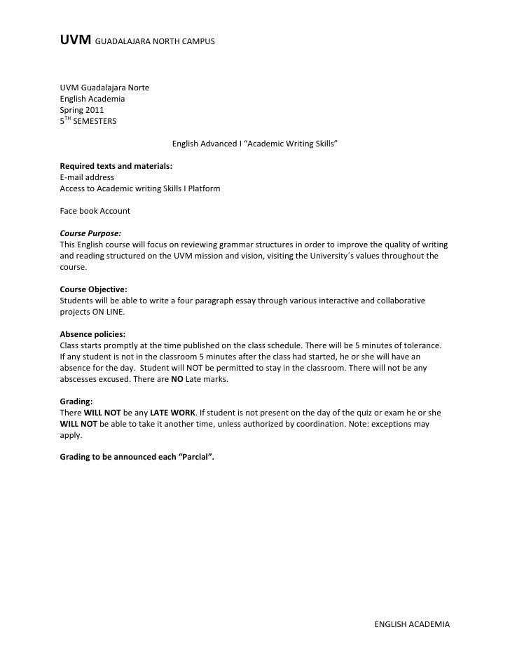 Academic skills essay