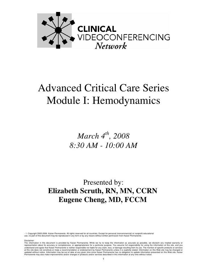 Advanced Critical Care Series                 Module I: Hemodynamics                                                      ...