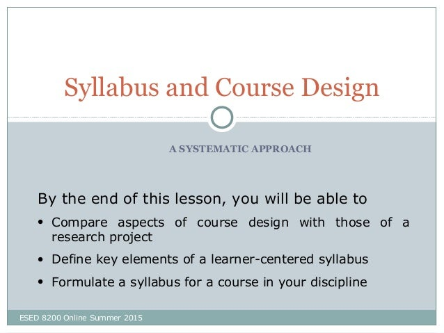 Syllabus And Course Design