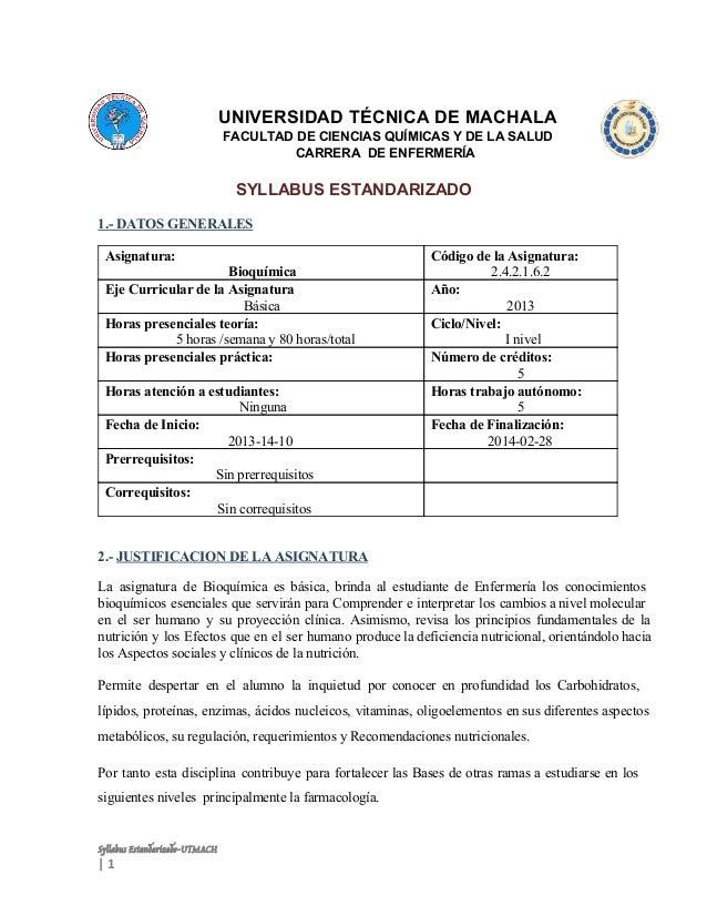 UNIVERSIDADTÉCNICADEMACHALA FACULTADDECIENCIASQUÍMICASYDELASALUD CARRERADEENFERMERÍA  SYLLABUSESTANDARIZADO ...