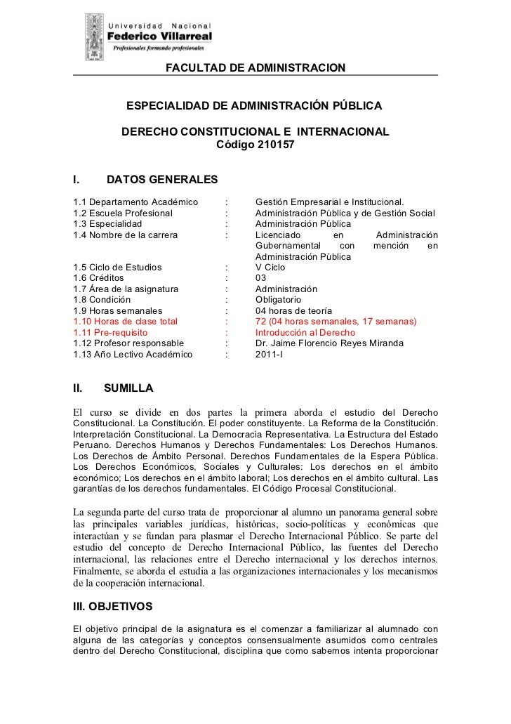 FACULTAD DE ADMINISTRACION            ESPECIALIDAD DE ADMINISTRACIÓN PÚBLICA           DERECHO CONSTITUCIONAL E INTERNACIO...