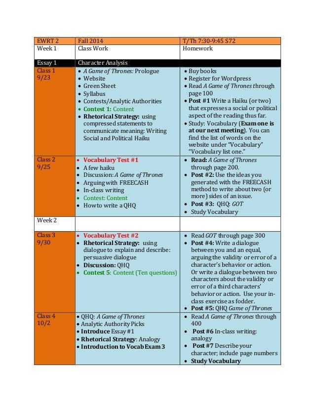 EWRT 2 Fall 2014 T/Th 7:30-9:45 S72 Week 1 Class Work Homework Essay 1 Character Analysis Class 1 9/23  A Game of Thrones...